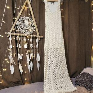 Boho Crochet Open-Knit Maxi Dress